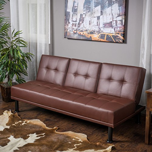 Heston Brown Vinyl Click Clack Futon 3-Seater Futon Sofa Bed