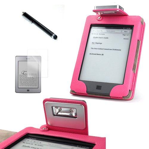Funda con luz para el Kindle Touch (rosa) + PROTECTOR DE PANTALLA + LÁPIZ ÓPTICO