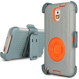 Note 3 Case, Galaxy Note 3 Case - ULAK Shockproof Hybrid Rugged Rubber Holster Case Cover for Samsung Galaxy Note 3 N9000 w/ Swivel Locking Belt Clip Kickstand (Orange+Grey)