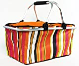 Insulated Folding Picnic Basket - Insulated Cooler with Carrying Handles (MultiColor)
