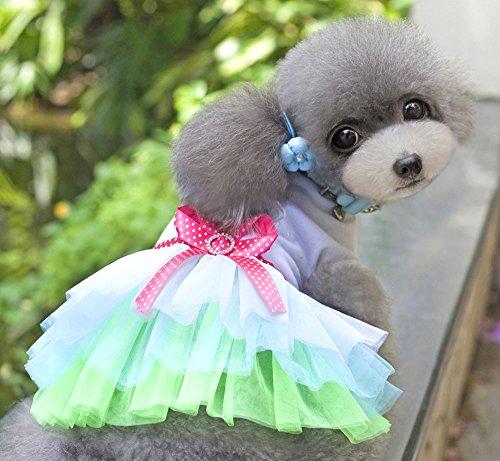 Pet Cat Dog New Lips Heart Princess Tutu Dress Skirt Cat Puppy Small Girl Dog Clothes Green S