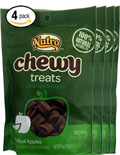 Bundle Pack of Four (4) 4oz Packages of Nutro Chewy Treats With Real Apples 100% Natural Snack Training Dog Treats (Nutro Natural Choice Dog Treats compare prices)