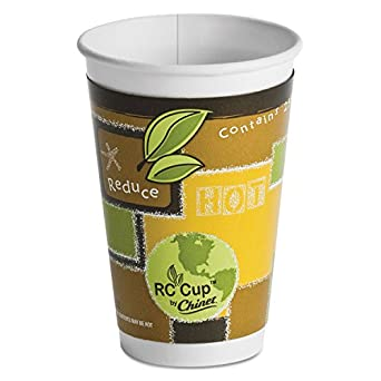 Chinet 63008 16 oz RC Cup ComfortCup Insulated Paper Hot Cup with Recycled Design (Case of 495)
