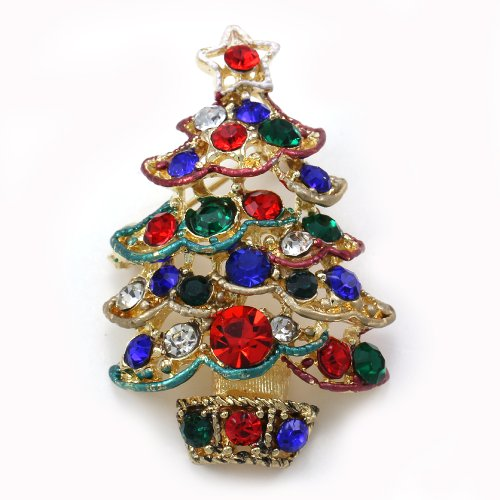Multi Colors Christmas Tree Brooch Pin Color