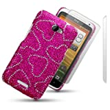 HTC ONE X LOVE HEARTS DIAMANTE DISCO BLING BACK COVER WITH 2 SCREEN PROTECTORS BY CELLAPOD CASESby CELLAPOD