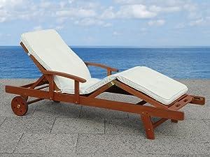 exklusive gartenliege aus holz liegestuhl mit auflage in beige model toscana. Black Bedroom Furniture Sets. Home Design Ideas