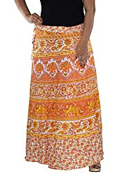 Aura Life Style Women Printed Cotton Long Wrap Around Skirt (ALSK5045W, orange, Free Size)