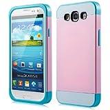 Foxnovo Multi-Color Dual-Layer-Hart Zurück Case Cover Schutzhülle Für Samsung Galaxy S3 / i9300 (Rosa + Sky-Blau)