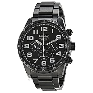 Seiko Men's SSC231 Sport Solar Analog Display Japanese Quartz Black Watch by Seiko