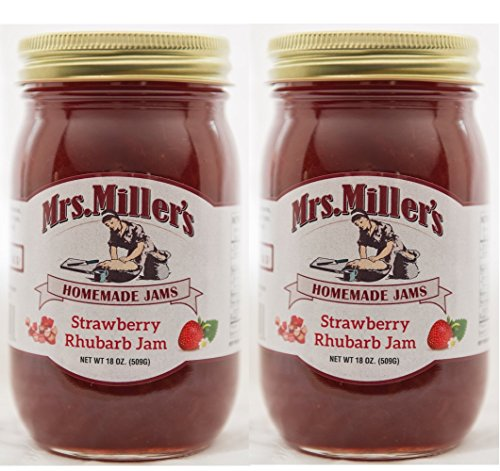 Mrs Miller's Amish Homemade All Natural Strawberry Rhubarb Jam 18 oz - 2 Jars (No Corn Sugar) (Apple Pie Jelly compare prices)
