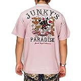 UNKY'S PARADISE[ジャンキーズパラダイス] ギャンブルスカル刺繍 ボウリングシャツ/半袖シャツ/JBS-601--ピンク--M