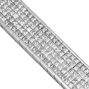 14K White Gold Mens Diamond Bracelet 13.93 Ctw