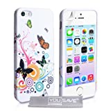 iPhone 5 / 5S Floral Butterfly Swirl Silicone Caseby Yousave Accessories