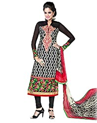 Inddus Wonderful Black Embroidered French Crepe Semistitched Salwar Kameez with Chiffon Dupatta