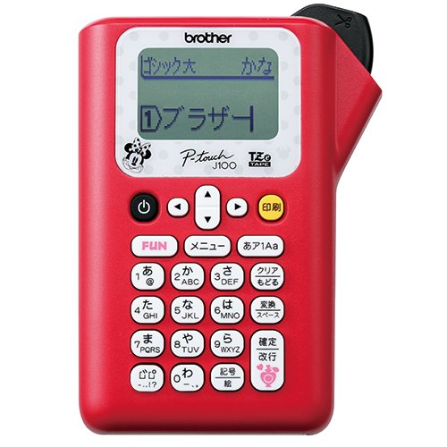 ブラザー工業 ラベルライター P-touch J100 ミニーレッド PT-J100MR