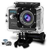Indigi� WiFi Sports Camera Action Cam WiFi iPhone Remote 1080p HD Recording Waterproof Case Underwater up to 30m