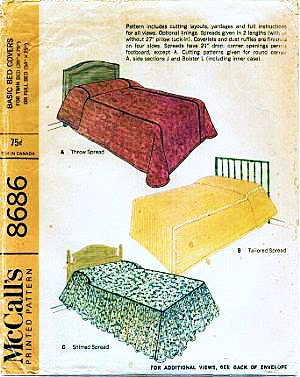 Mccalls 8686 Vintage Bed Spreads, Dust Ruffle, Mattress Cover Sewing Pattern Vintage 1960S front-955788