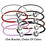 Braided Leather Charm Bracelet For Women, Fits European Charms, Barrel Snap Clasp, Brown 7 Inch