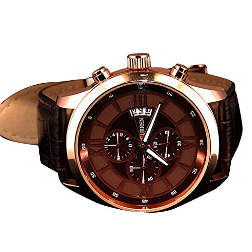 Soleasy Curren Brand Vogue Business Men'S Watch With Calendar Genuine Leather-Gold Wth4018