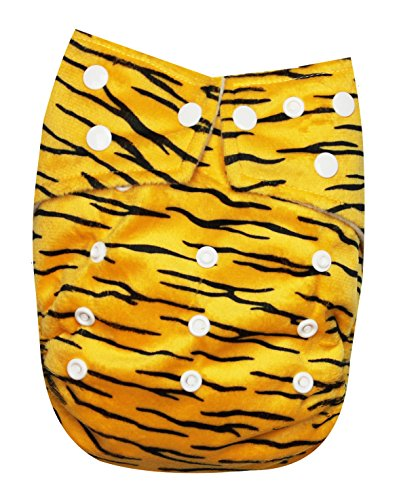 See Diapers One Size Minky Baby Cloth Diaper 2 Microfiber Inserts Tiger - 1