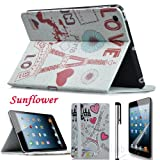 Eallc New Stylish 3in1 Leather Paris Tower Smart Case Cover Stand for Apple iPad Mini (sunflower+tower)