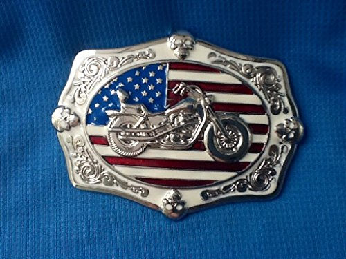 Arts Crafts Biker Chopper Bike Motorcycle American Flag Easy Low Rider Motorbike Belt Buckle