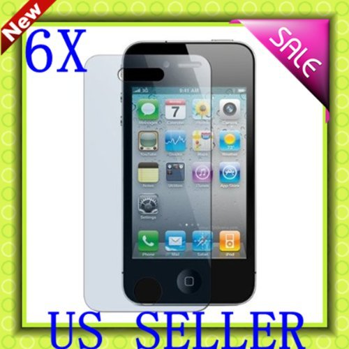 6 Pack Compatible With Apple Iphone 4S 4G 4 Clear Lcd Screen Protector Guard