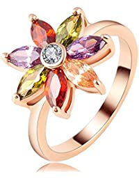 Flower Shaped Multi Colour Jewelry Rings 19 Likes Rose Gold Plated Women Ring For WomenALRG0203ML