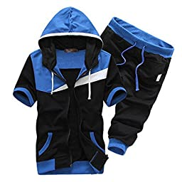 Jinmig Men\'s Casual Hoodies Zipper Up Short Sleeve Sweatsuits Jogging Tracksuits