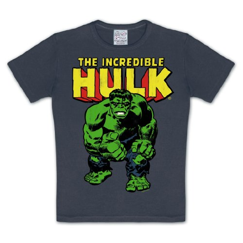 The Incredible Hulk - T shirt per bambini - Logo in rétro style - Girocollo - Grigio - 92/98