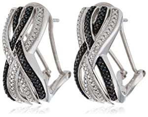 Sterling Silver White and Black Diamond Crossover Omega Back Earrings
