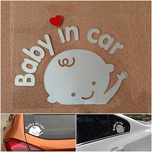 1 Pcs Heart-stirring Modern Baby In Car Sticker Sign Truck Decor Safety Symbol Window Logo Boy Style Colors White