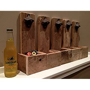 Wall Mounted Bottle Opener Cap Catcher - Groomsmen Gift, Reclaimed Wood, Best Man Gift, Husband Gift, Gift for Dad, Wedding Gift, Christmas Gift, Wall Mount