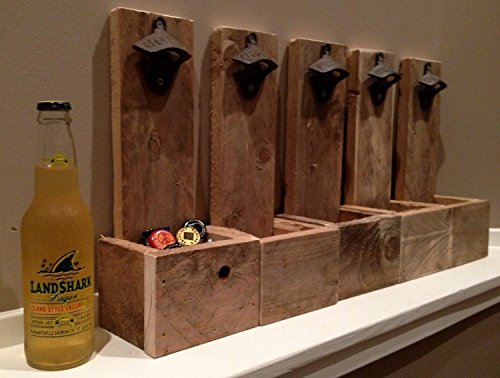 Wall Mounted Bottle Opener Cap Catcher - Groomsmen Gift, Reclaimed Wood, Best Man Gift, Husband Gift, Gift for Dad, Wedding Gift, Christmas Gift, Wall Mount	 1
