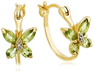 18k Yellow Gold Plated Sterling Silver Peridot and Diamond Accent Butterfly Hoop Earrings