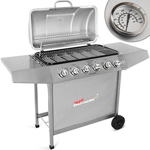 Broil-master Barbecue grill griglia giardino barbecue griglia a gas con 6 bruciatori principali nel colore argento