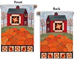 Pumpkin Quilt Barn House Flag 28x40 Vertical Fall Banner