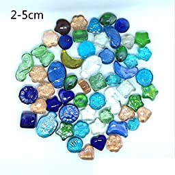 ZUINIUBI 500g Colorful Pebble for Aqurium Fish Turtle Tank Landscape Bottom Decoration Opal Glass Sand Crystal Stone Rocks Ornament