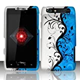 Motorola Droid Razr xt912 Accessory - Blue/Silver Flower & Vines Design Protective Hard Case Cover for Verizon + 4.5 INCHES Screen/Lens Cleaning Cloth