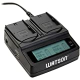 Watson Duo LCD Charger with 2 LP-E6 Battery Plates - Accepts Canon LP-E6 Type Battery
