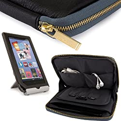 VanGoddy Irista Cover City PRO PU Faux Leather Pouch Sleeve JET BLACK COAL GREY fits Samsung Galaxy Tab 3 7.0