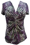 51QkEx8SqZL. SL160  Nicole Miller New York Knot Front Top (Purple Combo, XXL)