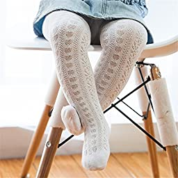 Cute Baby Child Girl Toddler Fashion Cotton Mesh Net Pattern Tights Pack of 1pair Size L White