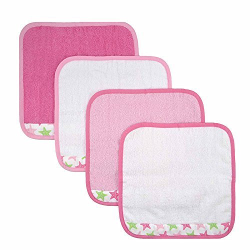 Just Born Sea Bright's Woven Washcloth Set, Star Fish, Pink, 4 Count by Just Born