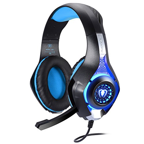 BlueFire Professional 3.5mm PS4 Gaming Headset Headphone with Mic and LED Lights for Playstation 4, Xbox one,Laptop, Computer (Blue) (Color: Blue)