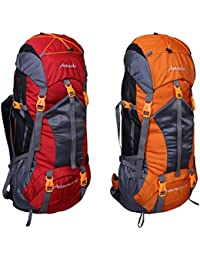 Attache 1025R Rucksack, Hiking Backpack 75Lts (Red & Orange) Set Of 2 With Rain Cover