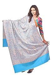 Weavers Villa - Women's Blue Woven Kashmiri Woolen Shawls , Stoles