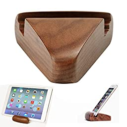 iPhone Stand, Apor Newest Walnut Desktop Cell Phone Stand Portable Smartphone Holder Cellphone Cradle Universal Holder Mobile Stand for Smartphones and Tablets