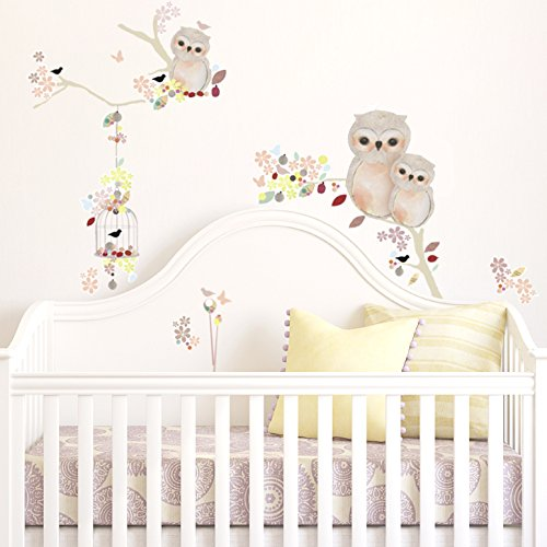 """Oopsy Daisy Vintage Owls Pink Peel and Place, Neutral/Pink, 54"""" x 30"""""""