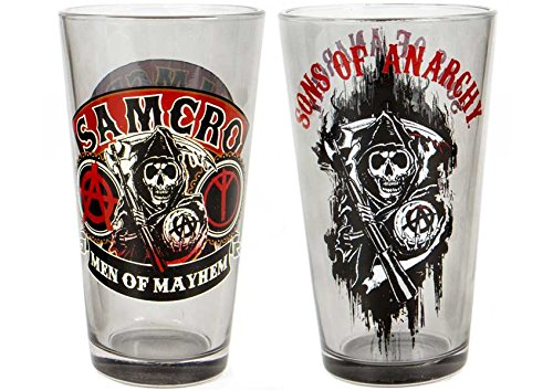 Son of Anarchy Set of 2 Mayhem Drinking Pint Glasses